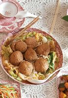"""Braised """"Lion's Head"""" Meatballs with Napa Cabbage"""