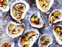 Raw Oysters with Grilled Pineapple and Thai Basil