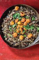 Wild Rice Hash with Beef, Lentils, and Sumac-Roasted Tomatoes