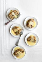 Spotted Dick (Currant Steamed Pudding) with Custard Sauce