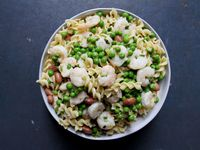 Fusilli with Scampi, Cranberry Beans, and Peas