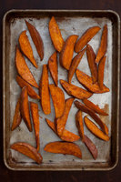 Sweet Potato Oven Fries with Curry–Honey Sauce