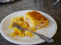 Baked Rice Cake with Ham and Cheese