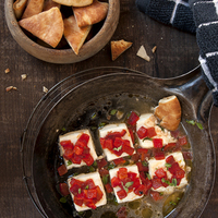 Baked Feta with Roasted Red Peppers and Lemon–Oregano Broth