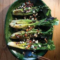 Grilled Romaine Lettuce Salad with Blue Cheese and Bacon