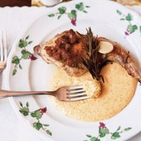 Rabbit Braised in Oregon Pinot Gris and Rosemary with Gorgonzola Polenta