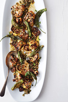 Charred Cauliflower and Shishito Peppers with Picada Sauce