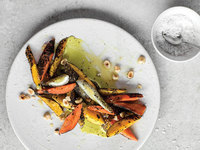 Charred Carrots With Lovage Sauce and Hazelnuts