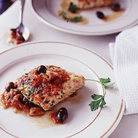Red Snapper with Tomato Sauce, Olives, and Onions