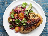 Cilantro and Lime Chicken with Grilled Corn and Black Bean Salad
