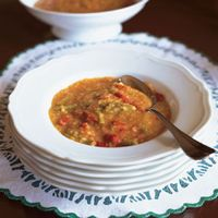 Zuppa dell'Ortolano (Greengrocer's Soup with Onion, Peppers, Rapini, and Potatoes)