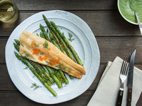 Smoked Trout with Grilled Asparagus-Dill Sauce