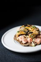 Mussels Tostada with Russian Salad and Chipotle Mayonnaise