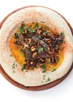 Hummus with Hen of the Woods Mushrooms