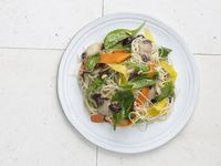 Spaghettini with Carrots, Olives, and Red Endive