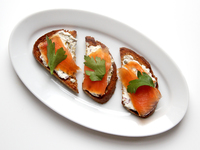 Smoked Salmon with Cream Cheese, Capers, and Red Onion
