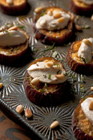 Roasted Eggplant with Goat Cheese, Tahini, and Pine Nuts
