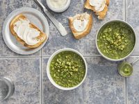 Green Minestrone with Kohlrabi, Olives, and Spinach Pesto