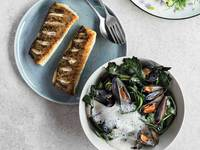 Pan-Seared White Fish With Mussels, Cabbage Shoots, and Cream