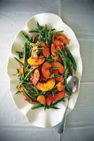 Green Bean Salad with Peaches and Caramelized Onions