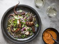 Grilled Octopus with Green Lentils and Romesco