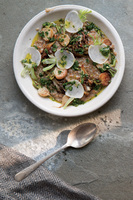 Cracked-Wheat Porridge with Hen of the Woods Mushrooms and Turnip-Top Salsa