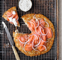 """""""Everything"""" Potato Galette with Lox and Crème Fraîche"""