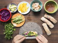 Grilled Shrimp Summer Rolls with Chile-Lime Dipping Sauce