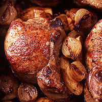 Stuffed Pork Chops with Roasted Apples and Calvados