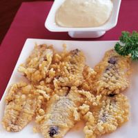 Deep Fried Fresh Anchovies with Warm Mayonnaise