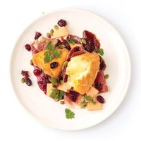 Fried Camembert with Ham, Melon, and Cranberry Vinaigrette