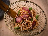 Sweet and Sticky Roast Pork with Sesame Noodles