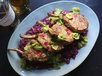 Smoked Pork Chops with Braised Cabbage & Fruit Butter