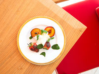 Burnt Peaches and Plums with Mascarpone and Hazelnuts