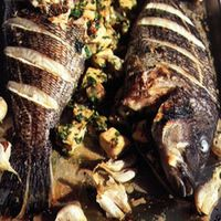 Striped Bass Stuffed with Swordfish and Shrimp