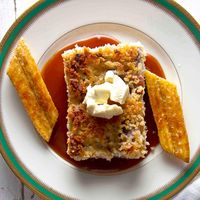White Chocolate Bread Pudding with Bananas and Rum Sauce