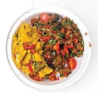 Sukuma Wiki with Matoke (Beef Stew with Mashed Plantains)