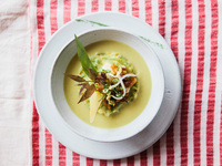 Green Curry and Taro Stem Soup with Bacon