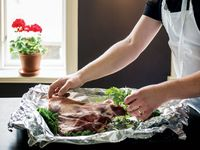 Roast Leg of Lamb with Herbs and Kale
