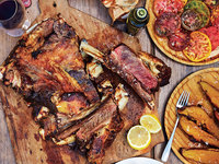 Grilled Beef Ribs with Charred Vegetables