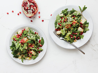 Chicory and Herb Salad with Apple, Pomegranate, and Creamy Miso Dressing