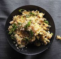 Eggs and Scallions with Toasted Cassava Flour