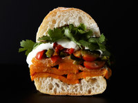 Roasted Sweet Potato Sandwich with Rajas Salsa