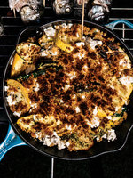 Skillet-Roasted Squash with Oregano, Mint, and Cheese