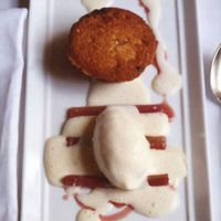 Port-Poached Rhubarb with Vanilla Ice Cream and Rhubarb Financiers