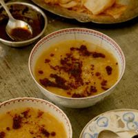 Red Lentil and Bulgur Soup with Chile–Mint Butter
