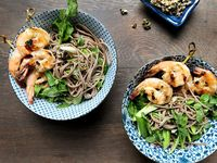 Soba Noodle Salad with Miso and Grilled Prawns