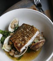Black Bass with Chickpeas, Clams, and Chorizo