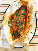 Parchment-Baked Fish with North African Chermoula Sauce