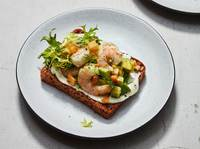 Shrimp, Avocado, and Crispy Potato Smorrebrod